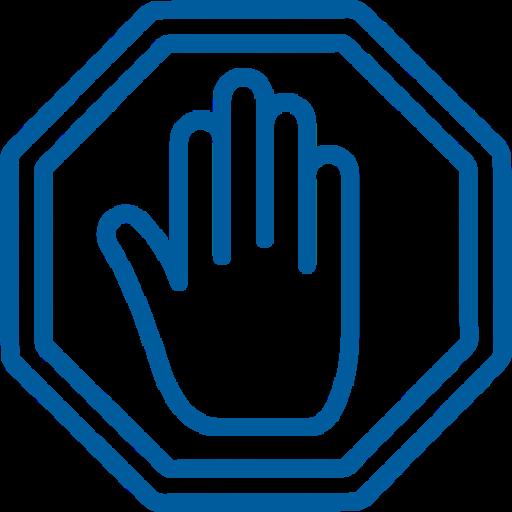 icona della mano icome segno di divieto