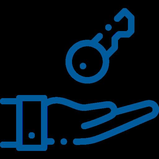 icona mano con chiave