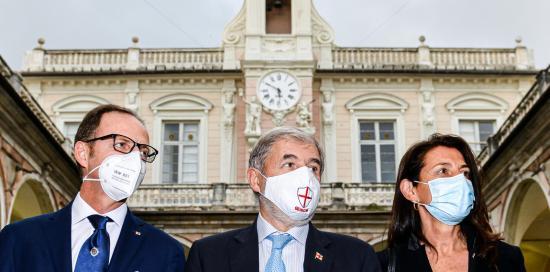 Bucci e i neo assessori Massimo Nicolò e Lorenza Rosso