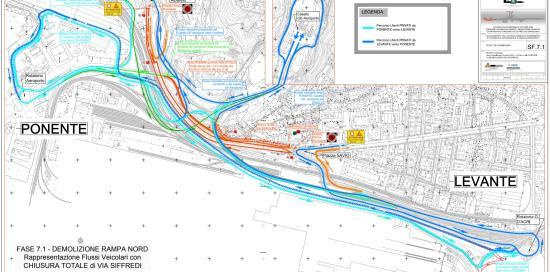la viabilità di via Siffredi modificata per i lavori di demolizione della rampa nord