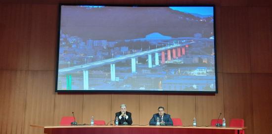 Sindaco di Genova Marco Bucci e presidente Regione Liguria Giovanni Toti