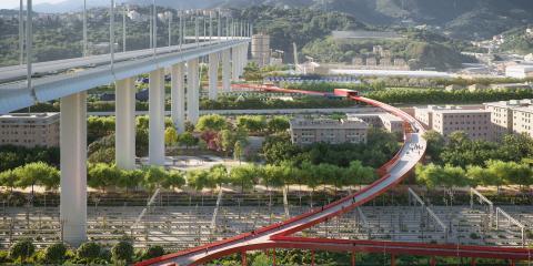 """3_ Parco del Polcevera, lato est: Parco dello Sport e """"Genova Nel Bosco"""" (© The Big Picture, courtesy by SBA)"""