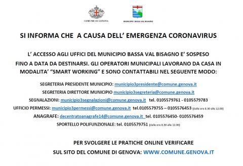 Contatti Uffici Municipali Durante L Emergenza Coronavirus Comune Di Genova Sito Istituzionale