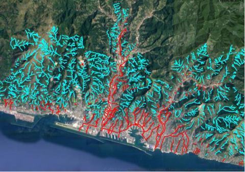 mappa dei rivi sul territorio comunale