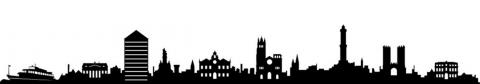 immagine in bianco nero dello skyline di Genova