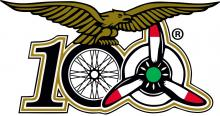 Il logo della manifestazione che mette insieme i 100 anni delle moto Guzzi, i 100 anni dell'Aeronautica unite sotto le ali dell'Aquila che Giorgio Parodi ha sempre indossato